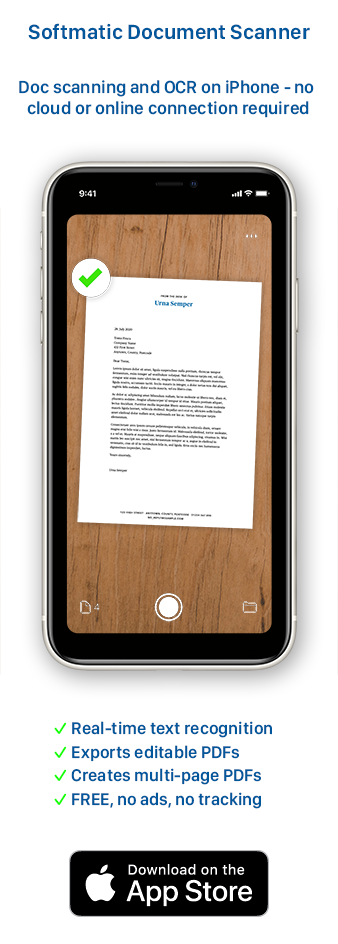 Free Document Scanner for iPhone